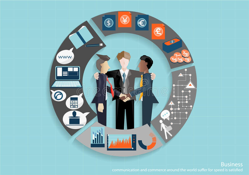 Vector Businessmen brainstorm meeting in the office and the mobile tablet technology to communicate with customers worldwide. For team works stock illustration