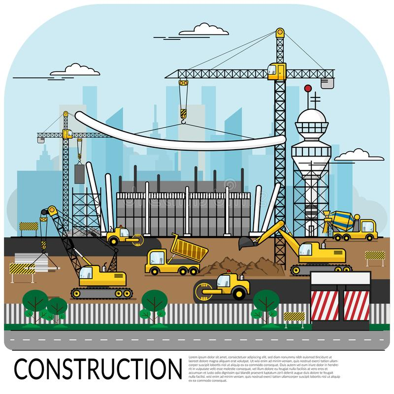 Vector of busy construction site with workers , truck , crane vector illustration