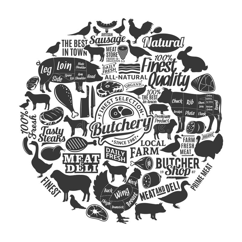 Vector butchery logo, icons and design elements. Vector butchery logo, icons, design elements and farm animals silhouettes for groceries, meat markets, packaging vector illustration