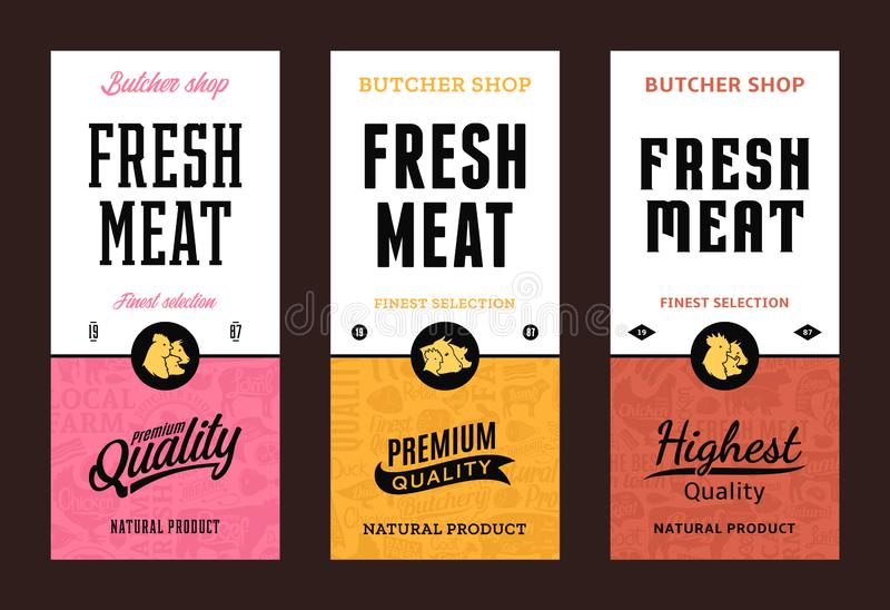 Vector butchery logo. Fresh beef, pork, chicken modern style labels. Farm animals icons. Butcher shop pattern and design elements royalty free illustration
