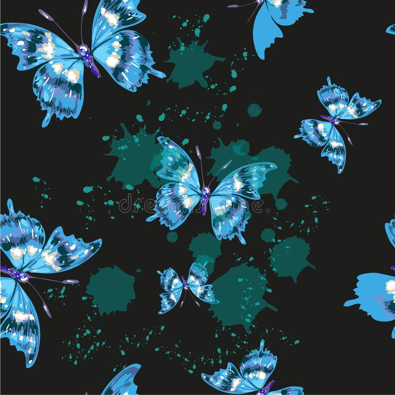 Vector butterflies pattern. Abstract seamless background on black stock illustration