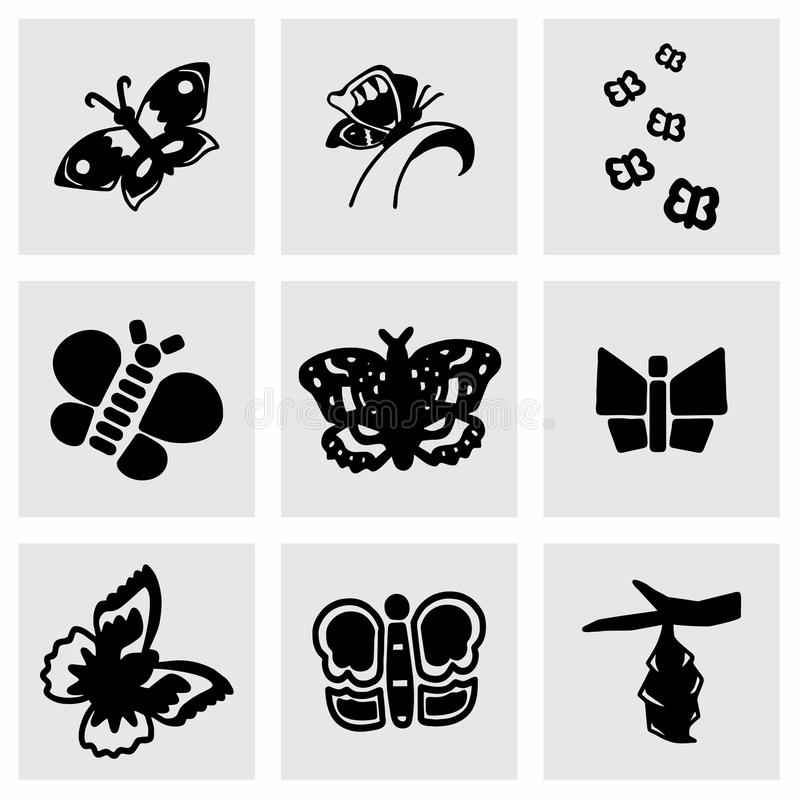 Vector Butterfly icon set royalty free illustration