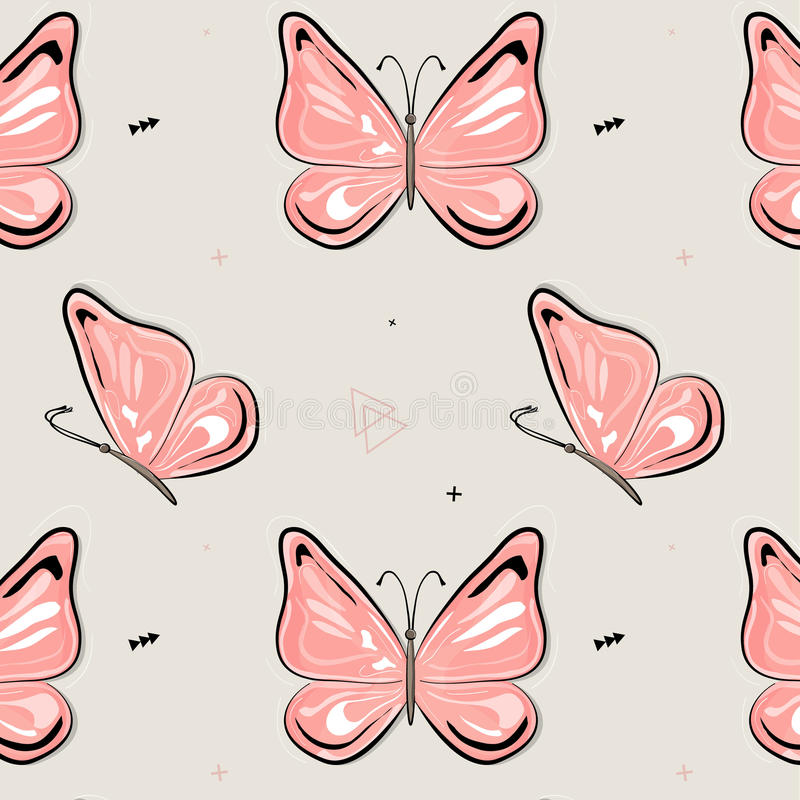 Vector butterfly pattern. Nature insect background. Kids summer illustration. Natural spring pink print stock illustration