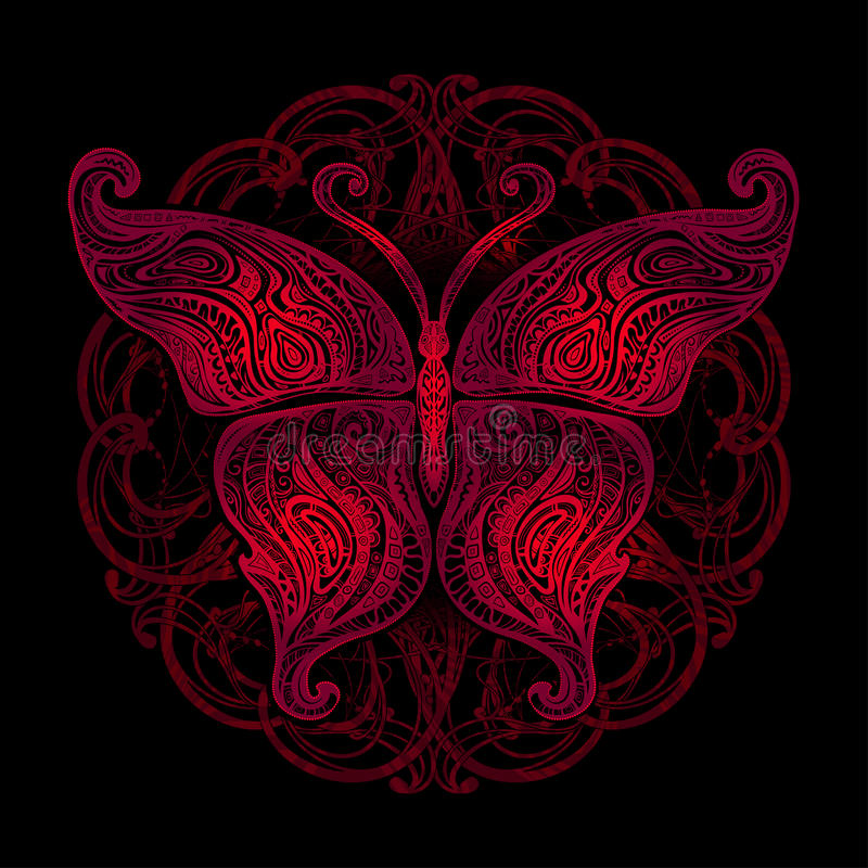 Vector butterfly tattoo stock illustration