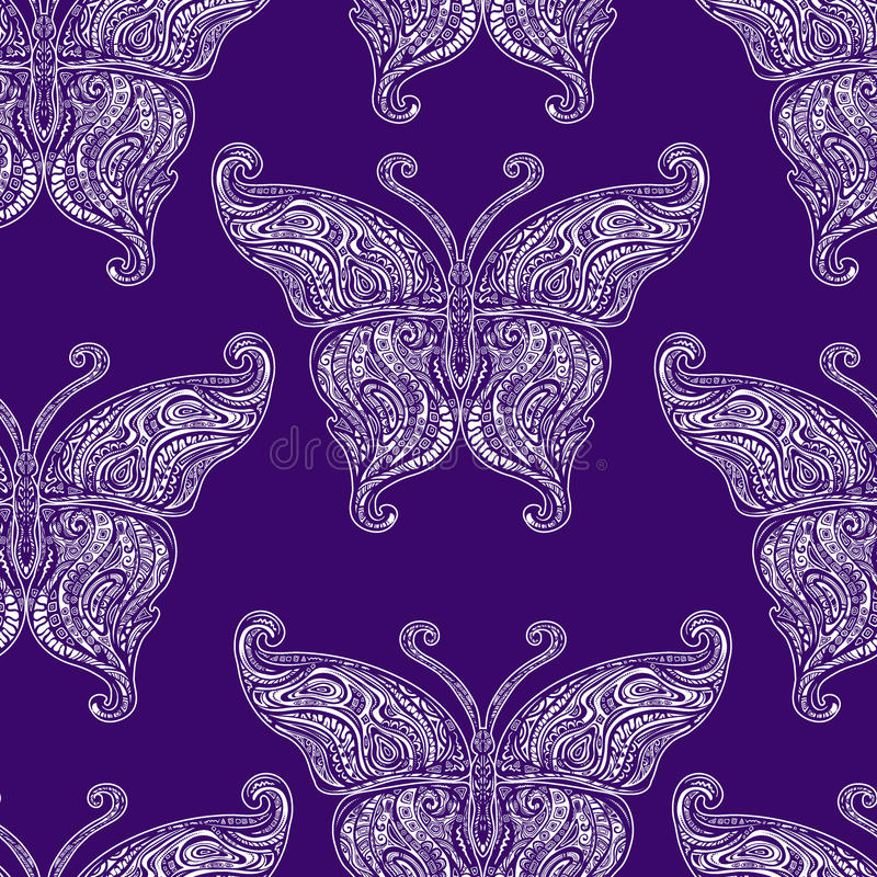 Vector butterfly tattoo seamless pattern vector illustration