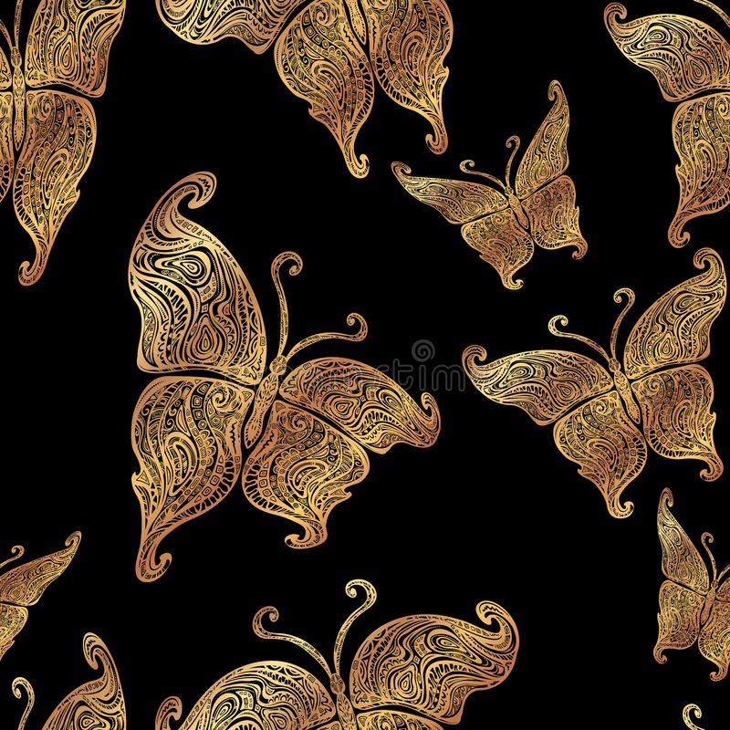 Vector butterfly tattoo seamless pattern stock illustration