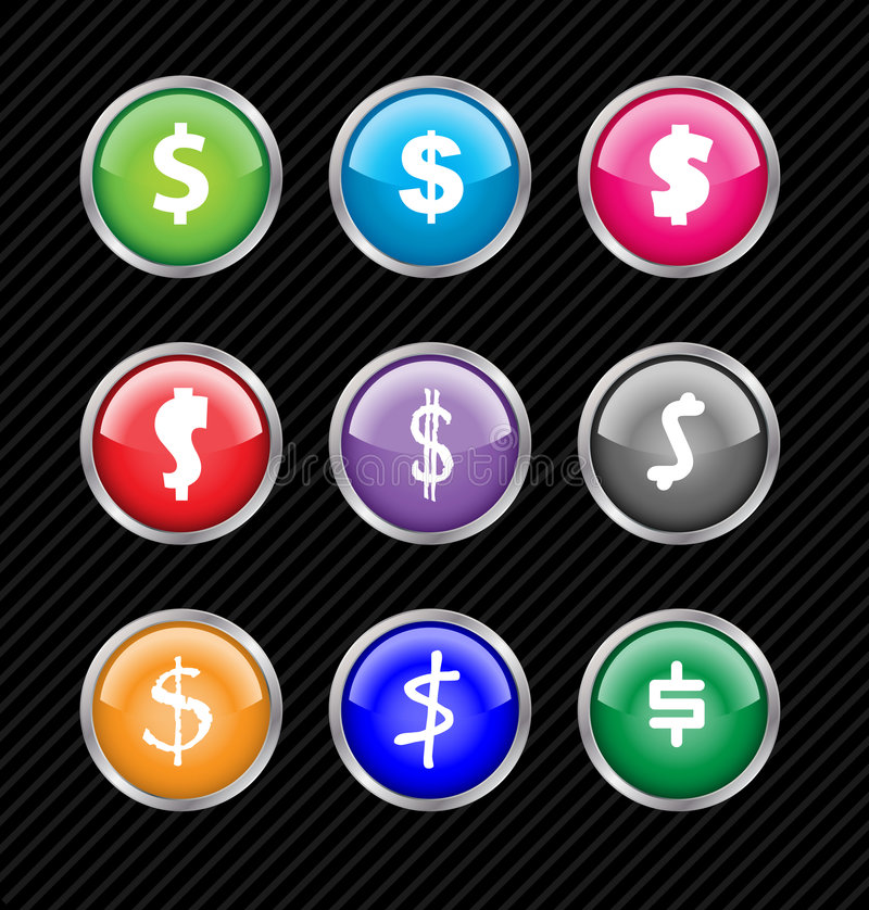 Vector buttons with different variations of dollar. Set of vector buttons with different variations of dollar sign style. Easy to edit, any size or color. Aqua vector illustration