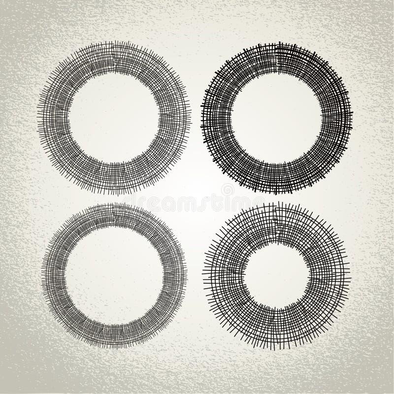 Vector: círculos dibujados mano, elementos del diseño ilustración del vector