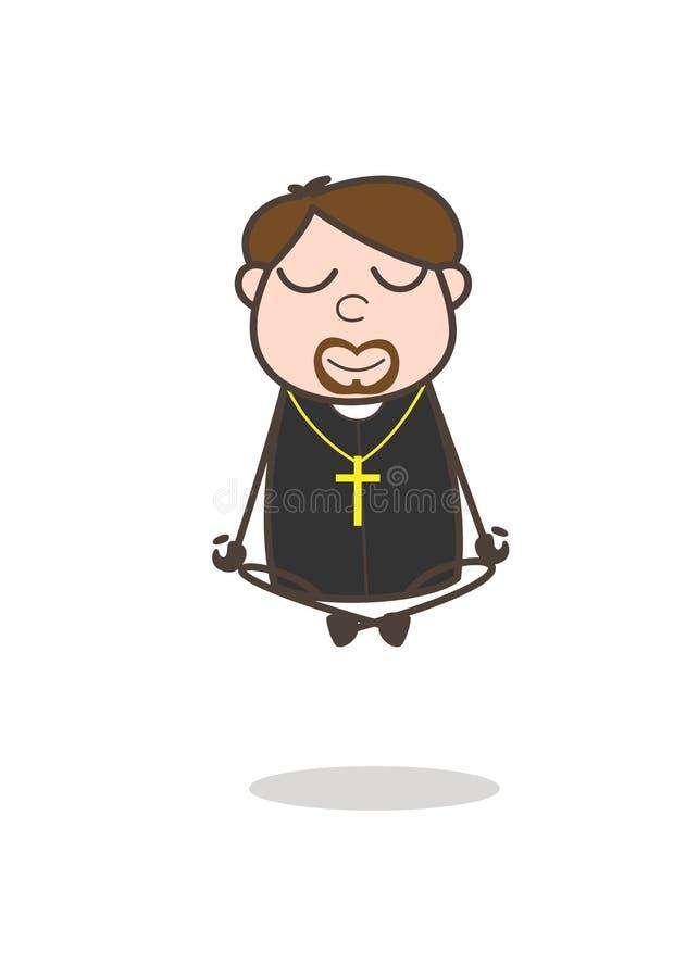 Vector cómico de Character Doing Meditation del sacerdote libre illustration