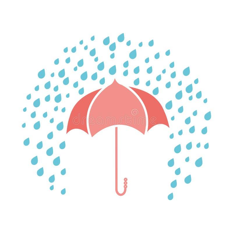 Vector a cópia com guarda-chuva e gotas chuvosas no fundo branco ilustração stock