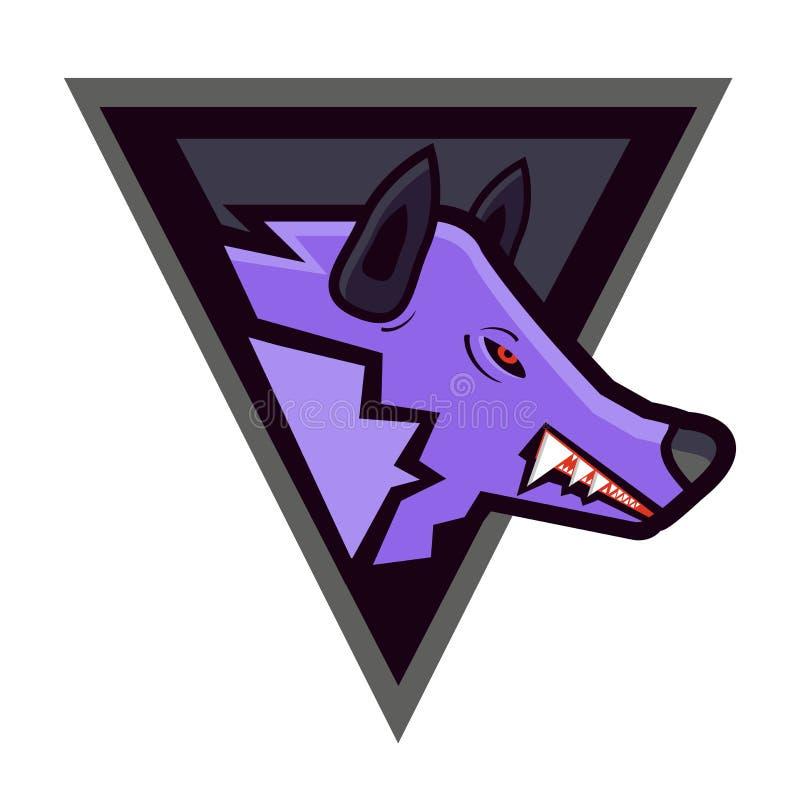 Vector a cabeça do lobo irritado em um protetor - mascote dos esportes ilustração do vetor