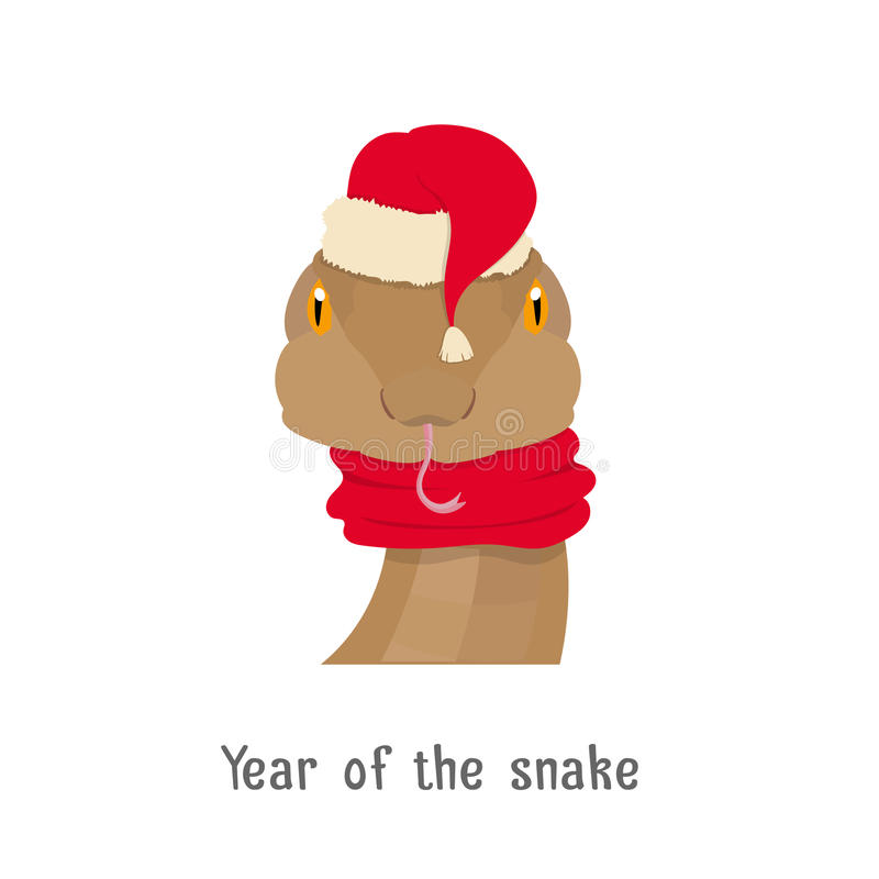Vector a cabeça no ano novo, chapéu vermelho da serpente do Natal, lenço ilustração royalty free