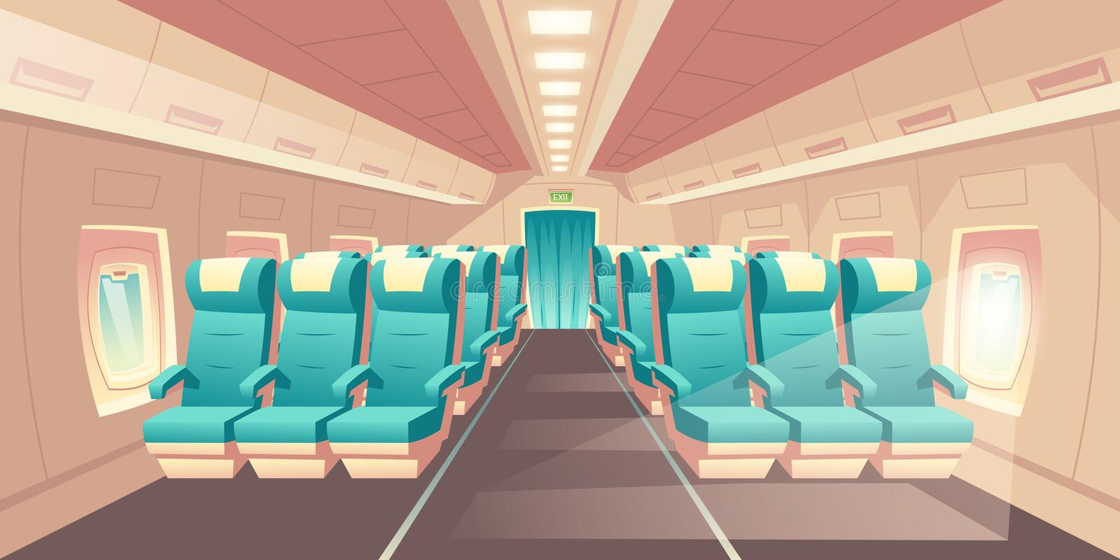 Vector cabin of plane. Econom class seats. Vector illustration with a cabin of a plane, econom class seats with blue chairs. Bright salon with an aisle in vector illustration
