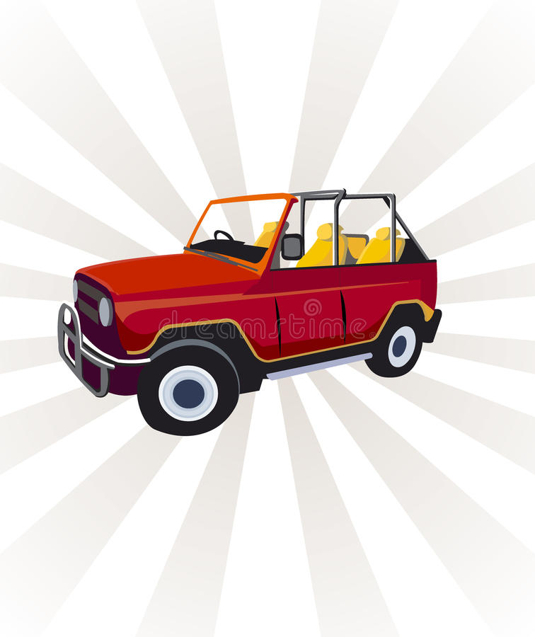 Vector cabrio russian jeep stock images