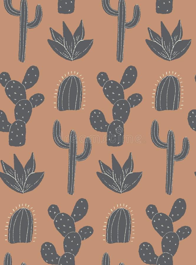 Vector cacti field seamless repepat patern background stock illustration