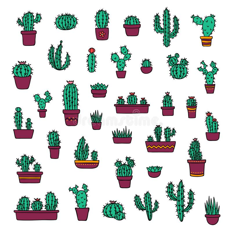 Vector cacti and succulents in colorful pots doodle illustration. Home and wild blooming cactus flower plants set vector illustration