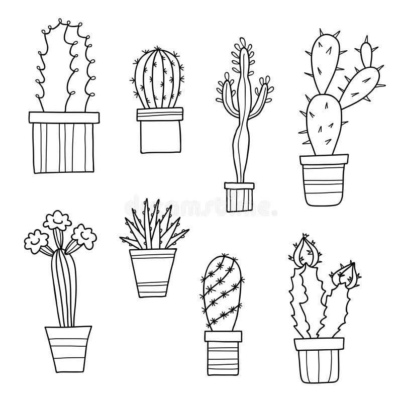 Vector cactos e plantas bonitos dos desenhos animados em uns potenciômetros, flores tiradas mão ilustração do vetor