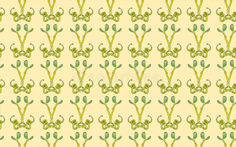Vector cactus seamless pattern for illustrator stock image