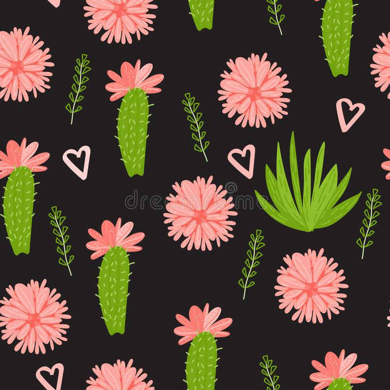 Free Vector Cactus With Flowers Seamless Pattern Isolated On Dark Background. Stock Image - 118938751