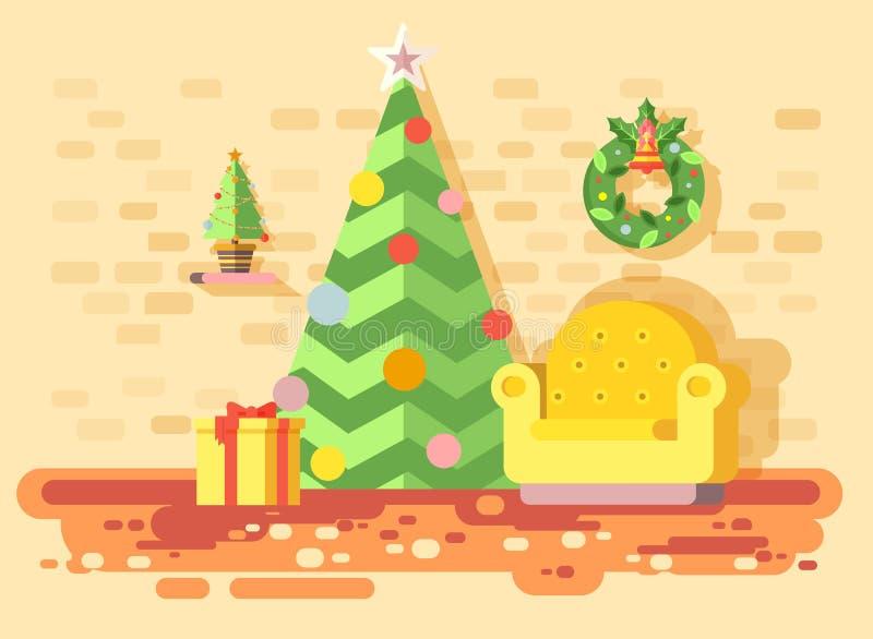 Vector a cadeira confortável interior da casa dos desenhos animados da ilustração, sala com o abeto vermelho da árvore de Natal,  ilustração royalty free
