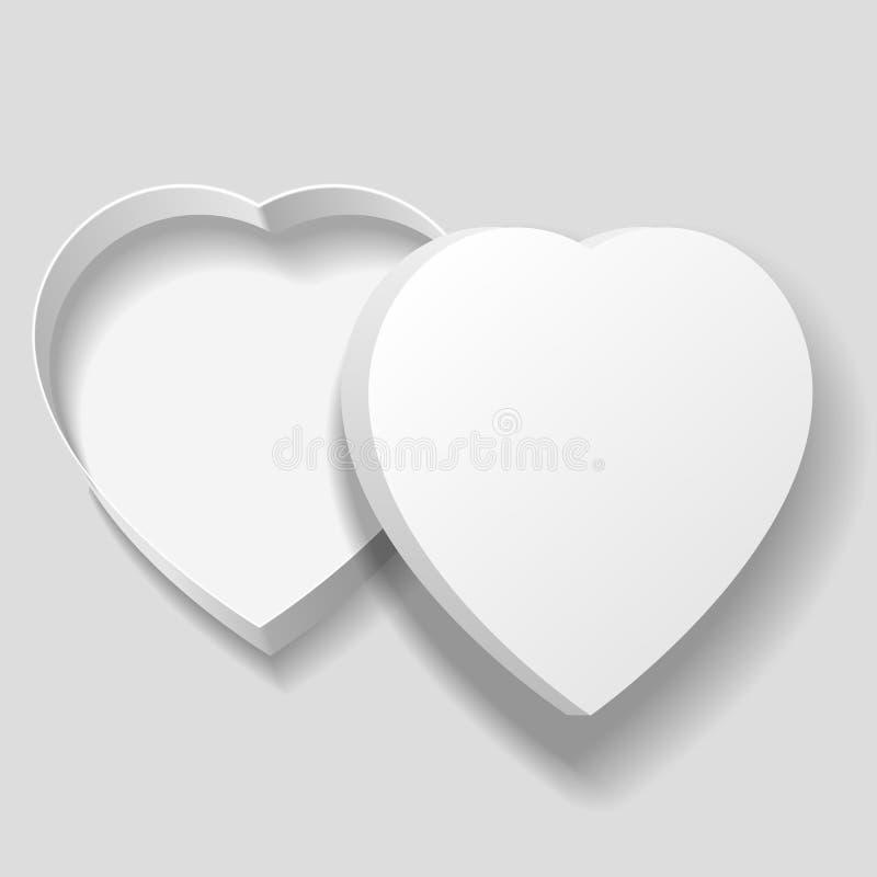 Vector a caixa branca vazia realística da forma do coração no fundo cinzento ilustração do vetor