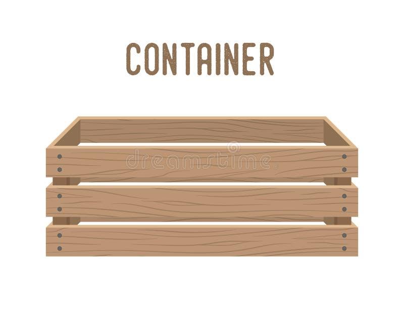 Vector a caixa dos desenhos animados, cesta do mantimento, caixa Recipiente de madeira ilustração royalty free