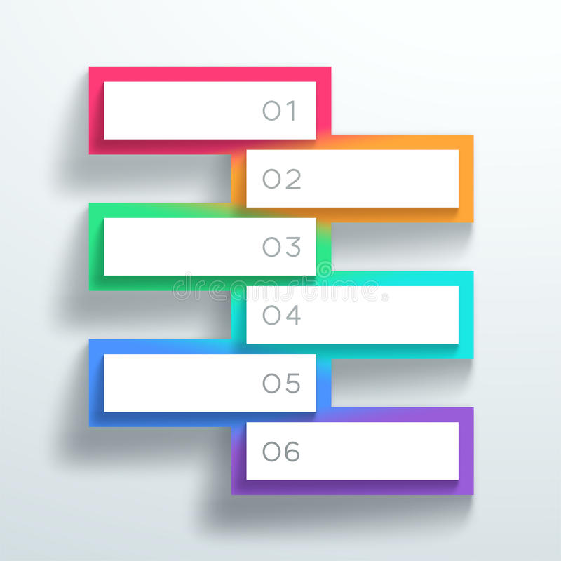 Vector caixas de texto 3d numeradas cor empilhou 1 a 6 ilustração do vetor