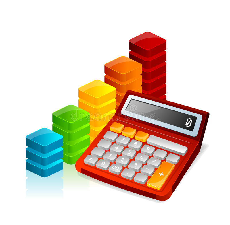 Vector calculator and graph vector illustration