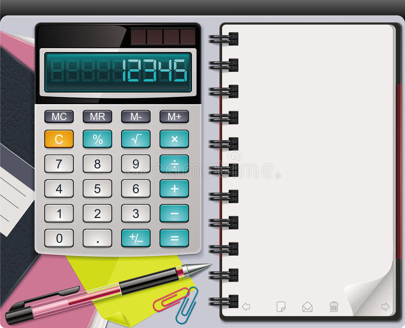 Vector calculator with notepad template royalty free illustration