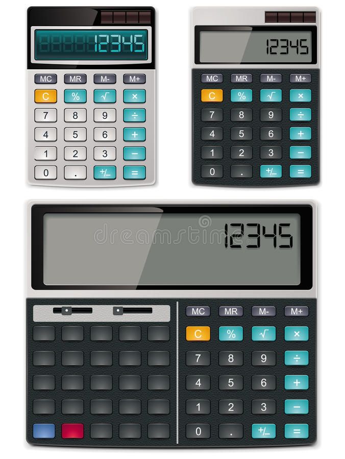 Vector calculators - simple and scientific stock illustration