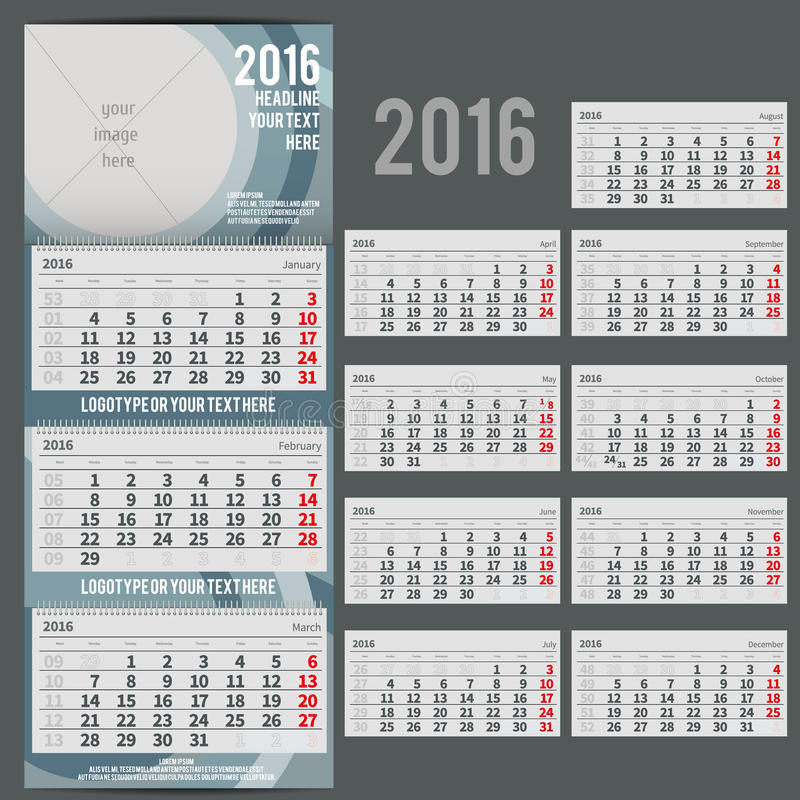 Free Vector Calendar 2016 - Planner For Three Month Stock Photos - 58567223