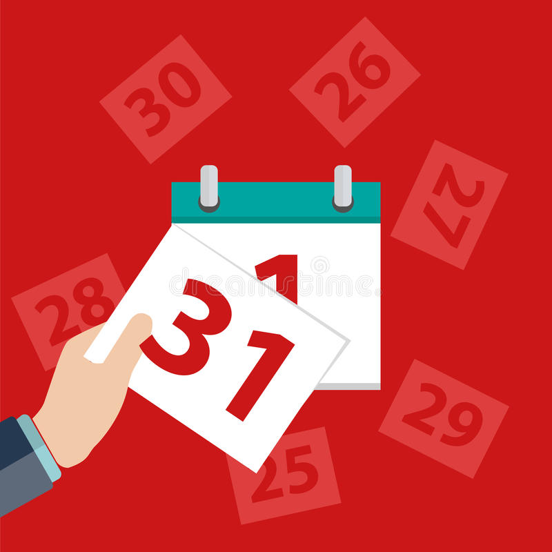 Vector calendar apps icon. Last day of the month. Vector stock illustration