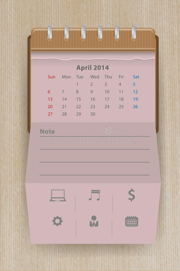 Vector Calendar April 2014 Royalty Free Stock Images