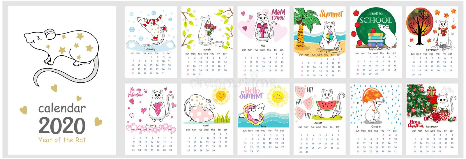 Vector calendar 2020 with Cute Rat. The Chinese calendar 2020 for children with illustration of the main European stock image