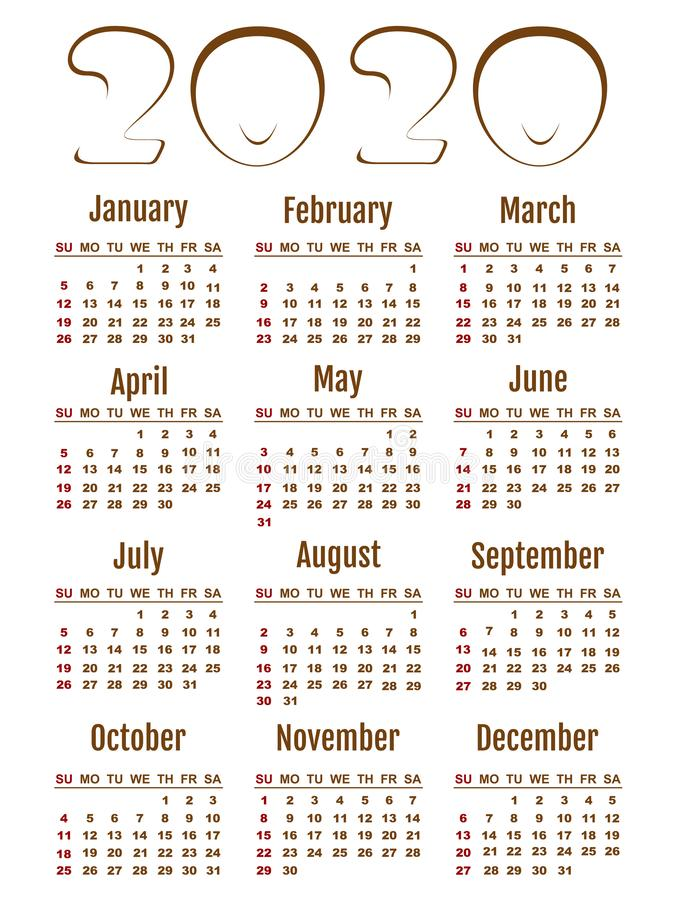 Vector Calendar 2020 in English. Week starts Monday vector illustration