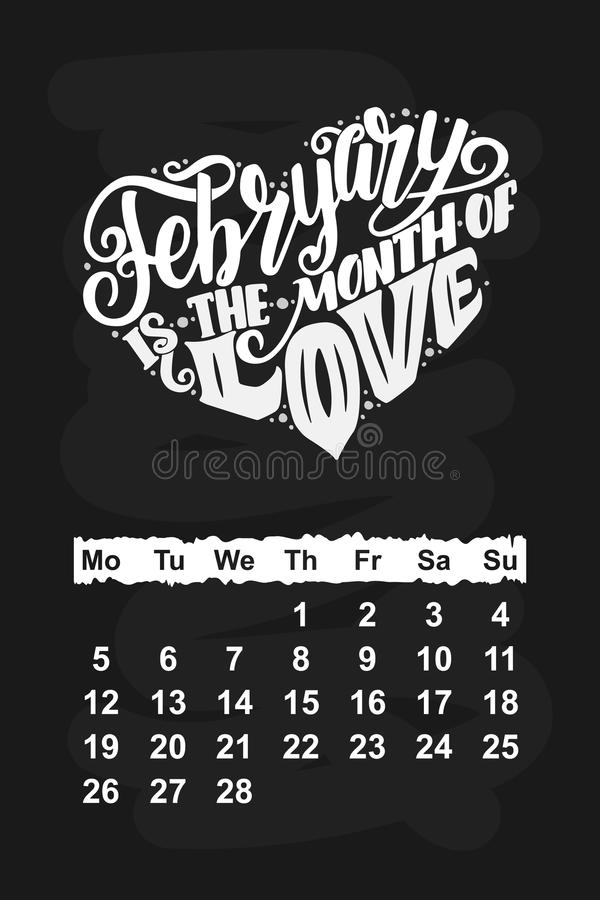 Vector Calendar For February 2018. Hand Drawn Lettering Quotes For ...