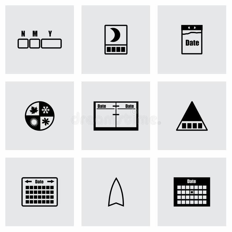 Vector Calendar icon set. On grey background stock illustration