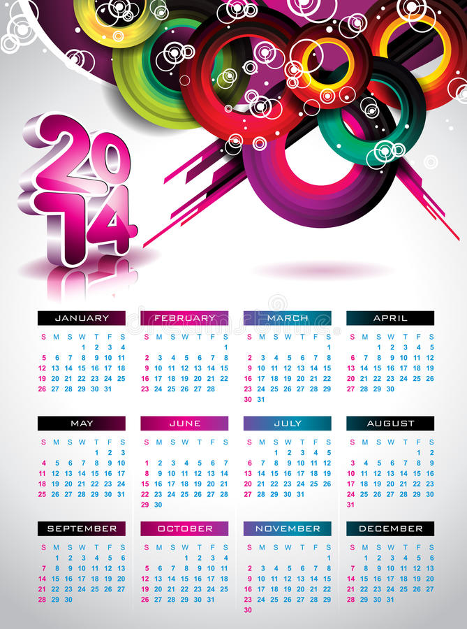 Vector Calendar 2014 Illustration. Royalty Free Stock Photo