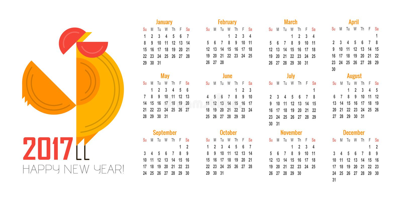 Vector Calendar For 2017 Illustration Of Red Rooster Symbol Of