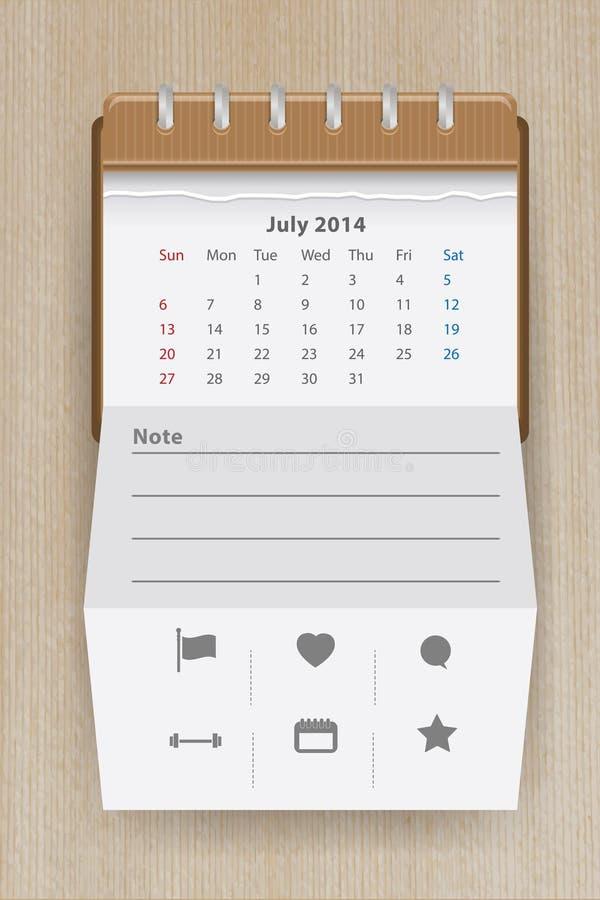 Vector Calendar July 2014 Royalty Free Stock Photography