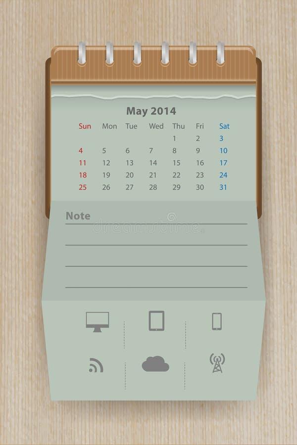 Vector Calendar May 2014 Stock Photo