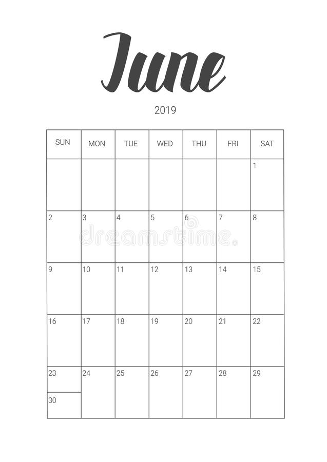 Vector Calendar Planner for June 2019. Handwritten lettering. vector illustration