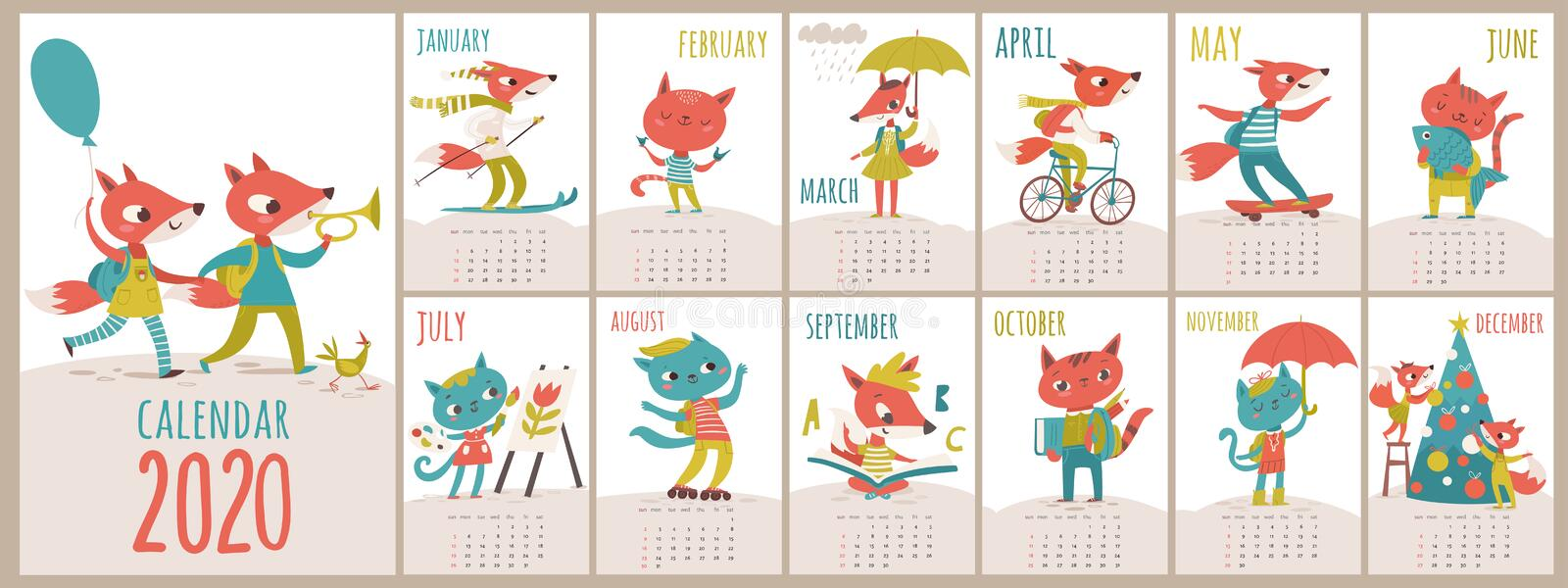 Vector 2020 calendar template with cats and foxes in kids cartoon style royalty free stock photo