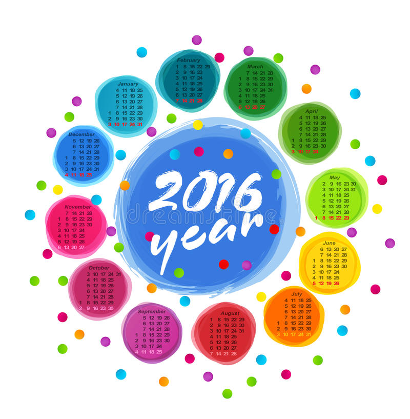 Vector calendar template with colorful circles for 2016. The vector calendar template with colorful circles for 2016 stock illustration