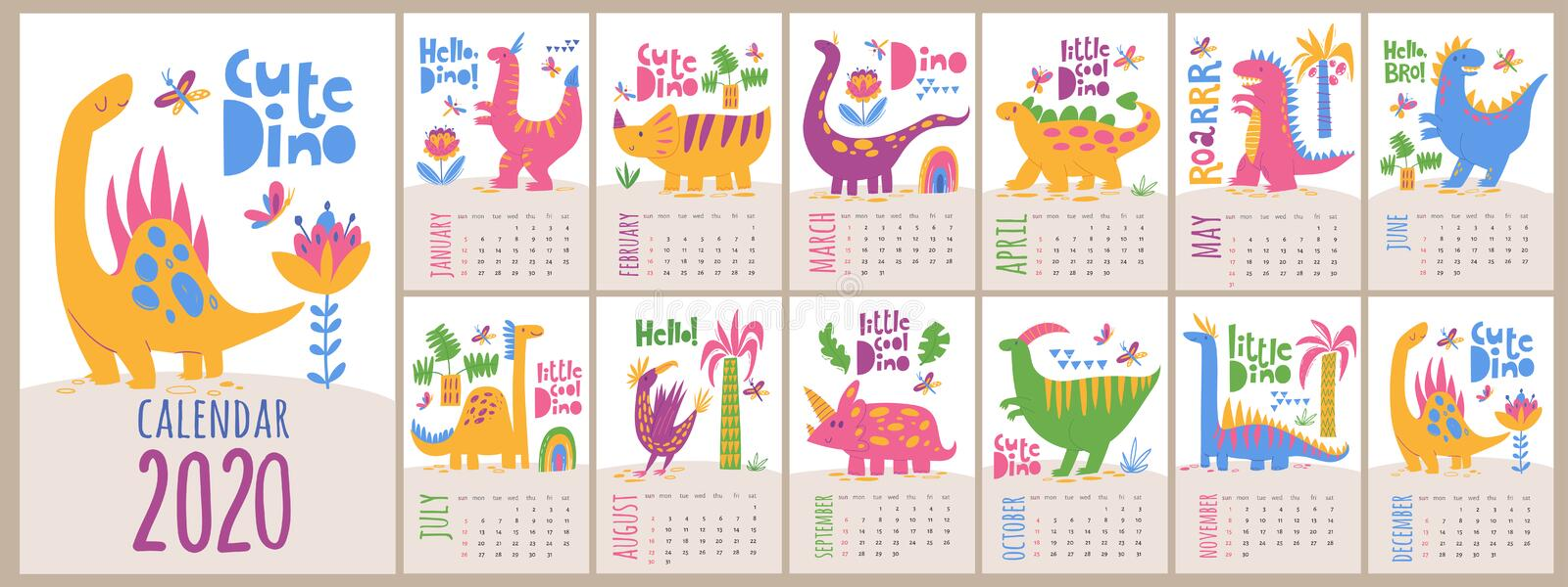 Vector 2020 calendar template with dinosaurs in kids cartoon style royalty free stock photo