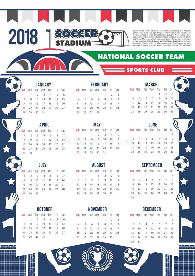 Vector 2018 Calendar Template Soccer Football Stock Vector