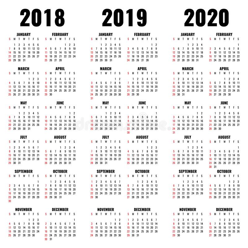 Vector Calendar Template 2018 2019 And 2020 Years Stock Vector