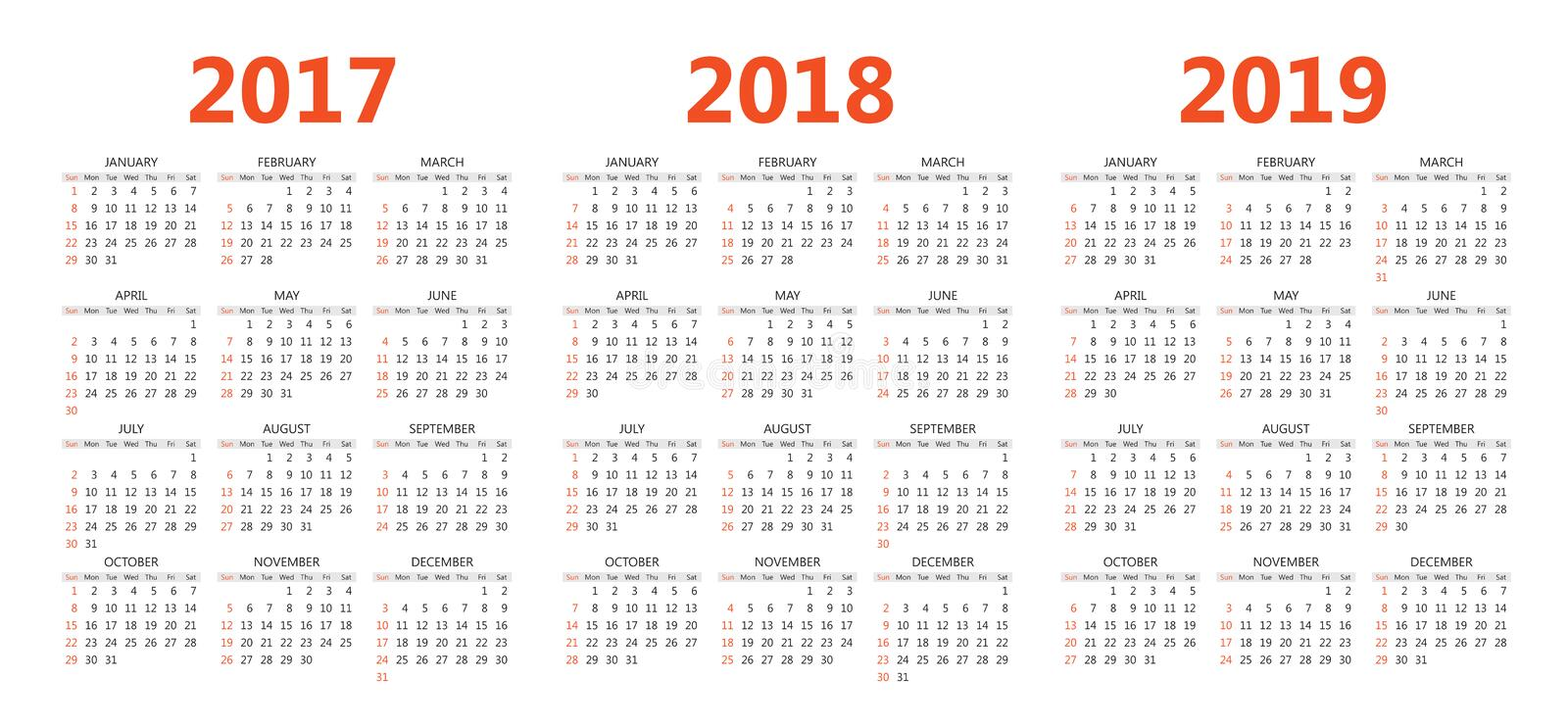 Vector Calendar Templates    Stock Vector