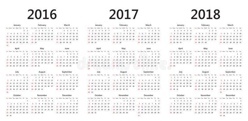 Vector calendar templates 2016, 2017, 2018 royalty free illustration
