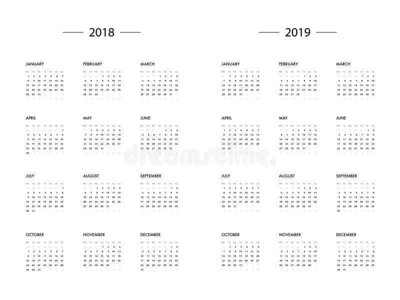 Calendar 2018 2019 Year Template Stock Vector Illustration Of